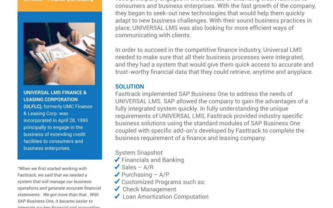 Universal LMS Finance Leasing Corporation Customer Success Story